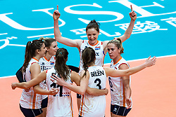 03-10-2018 JPN: World Championship Volleyball Women day 6, Yokohama<br /> Netherlands - Mexico 3-0 / Juliet Lohuis #7 of Netherlands, Britt Bongaerts #12 of Netherlands, Lonneke Sloetjes #10 of Netherlands, Maret Balkestein-Grothues #6 of Netherlands