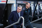 Everton manager Carlo Ancelotti and Everton coach Duncan Ferguson arrive ahead of the Premier League match between Newcastle United and Everton at St. James's Park, Newcastle, England on 28 December 2019.
