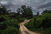 A vehicle of private electricity company Elektro enters the Ivaporunduva quilombo (former runaway slave communal land) in Eldorado, south of Sao Paulo, Brazil, Monday, Nov. 26, 2018. (Dado Galdieri)