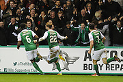 Andrew Shinnie celebrates Hibs' third goal during the Scottish Cup fifth round replay match between Hibernian and Heart of Midlothian at Easter Road, Edinburgh, Scotland on 22 February 2017. Photo by Kevin Murray.