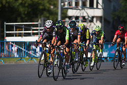 Rossella Ratto (ITA) of Cylance Pro Cycling leads the peloton on Stage 2 of the Madrid Challenge - a 100.3 km road race, starting and finishing in Madrid on September 16, 2018, in Spain. (Photo by Balint Hamvas/Velofocus.com)