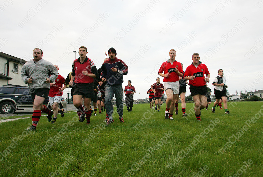 The Ennis Rugby club at a pre-season training session at the Rugby Grounds. Pic Sean Curtin Press 22.