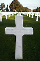 March 1994 --- Cross headstones of unknown soldiers at the American cemetery in Omaha Beach, Normandy, France. --- Image by © Owen Franken/Corbis