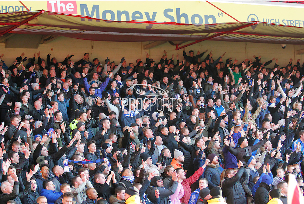 Birmingham fans celebrate their 3-1 victory at full time over Nottingham Forest at the City Ground, Nottingham, England on 28 December 2014. Photo by Jodie Minter.