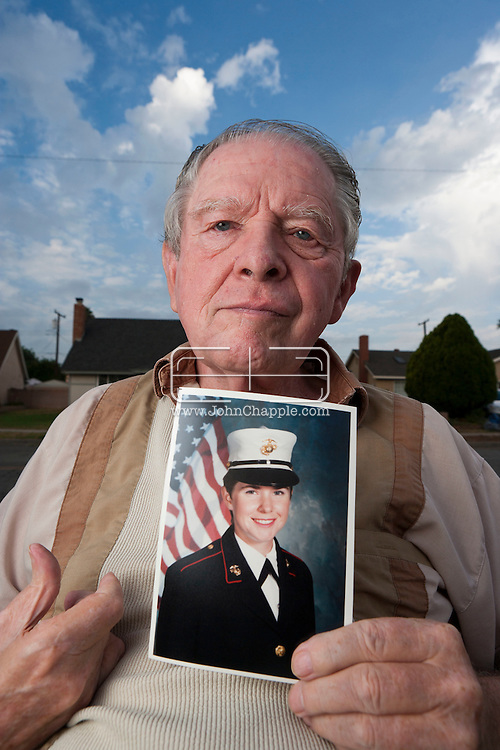 "1st October 2010. Placencia, California.  Arnie Pike holds a photograph of his late daughter, Sherry Pike. The Gulf War veteran's suicide has been linked to the online ""Dr Death"" guru based in Japan. PHOTO © JOHN CHAPPLE / www.chapple.biz.001 310 694 8647"