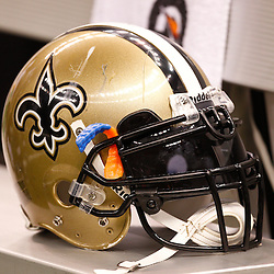 August 27, 2010; New Orleans, LA, USA; A New Orleans Saints helmet is seen on the bench during the second half of a preseason game at the Louisiana Superdome. The New Orleans Saints defeated the San Diego Chargers 36-21. Mandatory Credit: Derick E. Hingle