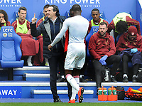 Football - 2018 / 2019 Premier League - Leicester City vs. Arsenal<br /> <br /> Arsenal Manager, Unai Emery complains to the referee as Ainsley Maitland - Niles walks of after being sent off by Referee, Michael Oliver, at King Power Stadium.<br /> <br /> COLORSPORT/ANDREW COWIE