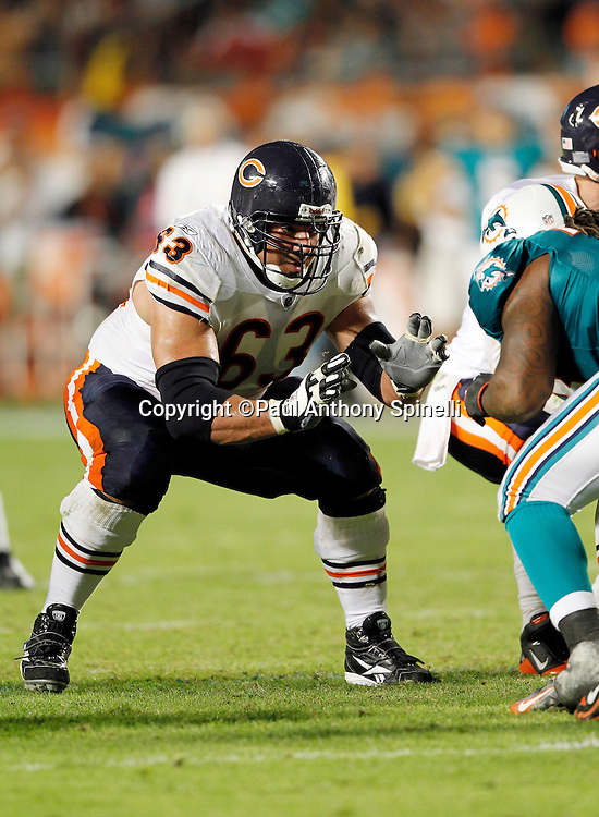 Chicago Bears center Roberto Garza (63) blocks during the NFL week 11 football game against the Miami Dolphins on Thursday, November 18, 2010 in Miami Gardens, Florida. The Bears won the game 16-0. (©Paul Anthony Spinelli)