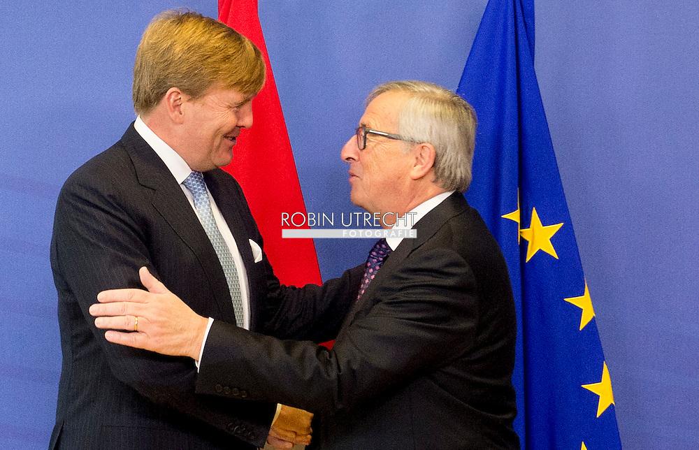 3-11-2015 BRUSSELS - King Willem Alexander  meets Lunch met Jean-Claude Juncker, voorzitter van de Europese Commissie.  King Willem Alexander visit the European Union in Brussels . COPYRIGHT ROBIN UTRECHT