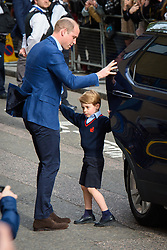 The Duke of Cambridge with Prince George arriving at the Lindo Wing at St Mary's Hospital in Paddington, London. Photo credit should read: Matt Crossick/EMPICS Entertainment