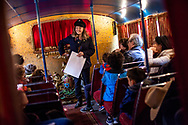 The Bus King Theatre is a rusty double-decker bus turned into a beautiful theatre on wheels. Cesare and Athena Maschi turned the bus into puppet theatre where they do shows and workshops for children and adults. London, 14th April, 2017. (Photos/Ivan Gonzalez)