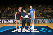ANZ Future Captains (L) Ellie Deane (age 13) and (R) Charlotte Scott (age 9) pose for a pre-game photo with Waikato-BOP Magic captain Casey Kopua and Northern Mystics captain Anna Harrison ahead of the ANZ Premiership netball match - Magic v Mystics played at Claudelands Arena, Hamilton, New Zealand on Wednesday 10 2017. Copyright photo: Bruce Lim / www.photosport.nz
