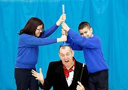 Repro Free: 13/11/2012.Kelly Luu and Jamie Breen from Scoil Mhuire, Blakestown are pictured with Dr Ken at The Institute of Technology Blanchardstown (ITB) where they celebrated Science Week today with a spectacular show for local primary school students with ?How To Save The Planet in 45 Minutes?, presented by Dr Ken. Picture Andres Poveda.For further information please contact Ann-Marie Sheehan, Aspire PR Tel : 01 827 5181 / 087 298 5569 or email annmarie@aspire-pr.com .