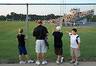 11 SEPT. 2009 -- ST. LOUIS -- Visitors from Oakville High School look over the field at Lindbergh before the start of the game between the Flyers and Oakville High School Friday, Sept. 11, 2009. Lindbergh led Oakville 14-0 at halftime on a pair of touchdowns by running back Eric Schwartz.  Photo © copyright 2009 by Sid Hastings.