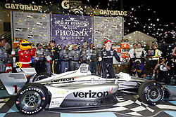 April 7, 2018 - Avondale, Arizona, United States of America - April 07, 2018 - Avondale, Arizona, USA: Josef Newgarden (1) celebrates after winning the Desert Diamond West Valley Casino Phoenix Grand Prix at ISM Raceway in Avondale, Arizona. (Credit Image: © Justin R. Noe Asp Inc/ASP via ZUMA Wire)