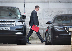 © Licensed to London News Pictures. 16/07/2018. London, UK. Newly appointed Foreign Secretary Jeremy Hunt walks from Downing Street to The Foreign Office.  Earlier, Justine Greening MP said in an interview with The Times that a second referendum on leaving the EU should be held. Photo credit: Peter Macdiarmid/LNP