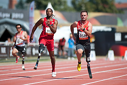 VANCE Shaquille, POPOW Heinrich, USA, GER, 100m, T42, 2013 IPC Athletics World Championships, Lyon, France