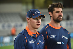 February 17, 2017 - Auckland, New Zealand - Glenn Phillips and Colin de Grandhomme of New Zealand look dejected after losing the international Twenty20 cricket match between South Africa and New Zealand in Auckland, New Zealand on Feb 17. (Credit Image: © Shirley Kwok/Pacific Press via ZUMA Wire)