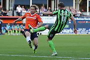 Dannie Bulman of AFC Wimbledon makes an attempt on the edge of the box during the Sky Bet League 2 match between Luton Town and AFC Wimbledon at Kenilworth Road, Luton, England on 26 September 2015. Photo by Stuart Butcher.