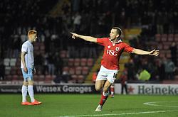 Bristol City's Aaron Wilbraham celebrates his goal. - Photo mandatory by-line: Dougie Allward/JMP - Mobile: 07966 386802 - 10/12/2014 - SPORT - Football - Bristol - Ashton Gate Stadium - Bristol City v Coventry City - Johnstone's Paint Trophy