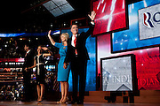 Republican presidential candidate Mitt Romney, vice presidential candidate Rep. Paul Ryan, Anne Romney, and Janna Ryan on the final night of Republican National Convention in Tampa, Florida, August 30, 2012.