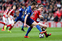 Grant Leadbitter of Middlesbrough tackles Michael Carrick of Manchester United - Mandatory by-line: Robbie Stephenson/JMP - 19/03/2017 - FOOTBALL - Riverside Stadium - Middlesbrough, England - Middlesbrough v Manchester United - Premier League
