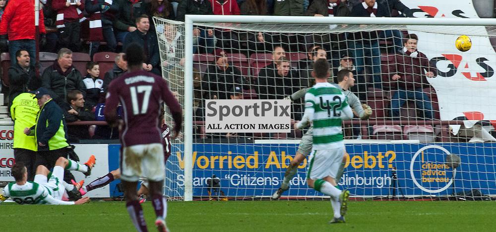 #11 Sam Nicholson (Heart of Midlothian) finds a way past #1 Craig Gordon (Celtic) for 1-1 • Heart of Midlothian v Celtic • Ladbrokes Premiership • 27 December 2015 • © Russel Hutcheson | SportPix.org.uk
