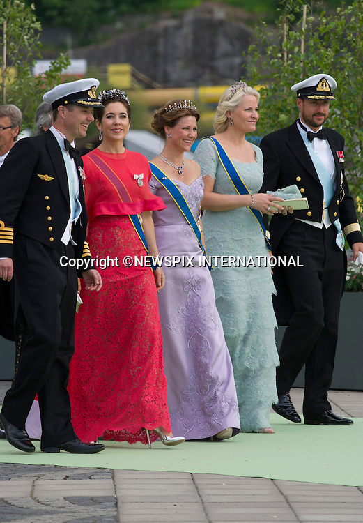 CROWN PRINCE FREDERIK, PRINCESS MARY, PRINCESS MARTHA LOUISE, PRINCESS METTE-MARIT AND CROWN PRINCE HAAKON<br /> arrive for a boat ride to Drottingholm Palace for the Wedding Banquet Riddarholmen, Stockholm, Sweden_08/06/2013<br /> Princess Madeleine married Christopher O'Neill at the Royal Chapel, Royal Palace in Stockholm<br /> Mandatory Credit Photo: &copy;Francis Dias/NEWSPIX INTERNATIONAL<br /> <br /> **ALL FEES PAYABLE TO: &quot;NEWSPIX INTERNATIONAL&quot;**<br /> <br /> IMMEDIATE CONFIRMATION OF USAGE REQUIRED:<br /> Newspix International, 31 Chinnery Hill, Bishop's Stortford, ENGLAND CM23 3PS<br /> Tel:+441279 324672  ; Fax: +441279656877<br /> Mobile:  07775681153<br /> e-mail: info@newspixinternational.co.uk