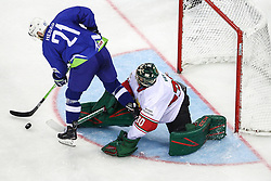 Andrej Hebar of Slovenia vs Adam Vay of Hungary during Ice Hockey match between National Teams of Hungary and Slovenia in Round #3 of 2018 IIHF Ice Hockey World Championship Division I Group A, on April 25, 2018 in Arena Laszla Pappa, Budapest, Hungary. Photo by David Balogh / Sportida