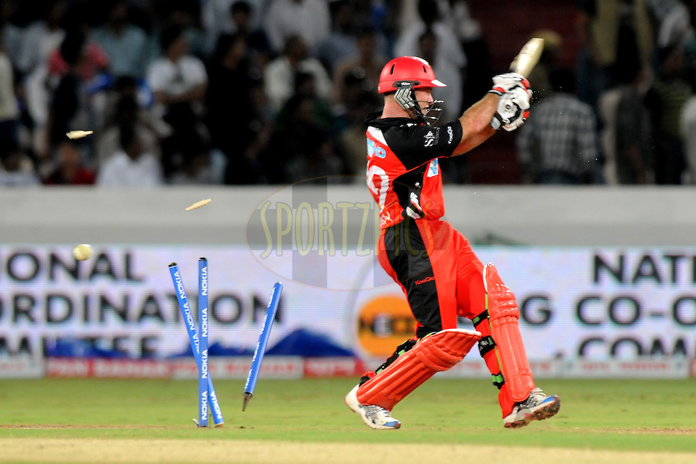 Tim Ludeman of Team South Australia gets bowled out during Match 4 of the NOKIA CLT20 between The Warriors and the South Australian Redbacks held at the Rajiv Gandhi International Stadium, Hyderabad on the 25th September 2011..Photo by Pal Pillai/BCCI/SPORTZPICS.