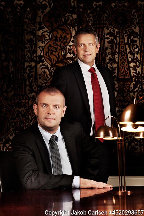 Danish Minsiater of Finance Bjarne Korydon and MP John Dyrby.