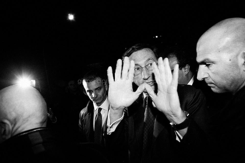 """PALERMO, ITALY - 17 JANUARY 2013: Gianfranco Fini (61), outgoing Presidente of the Chamber of Deputies  and leader of the party Future and Freedom (Futuro e Libertà) in the Mario Monti coalition, gives a speech in via d'Alemio where antimafia judge Paolo Borsellino was assassinated by the mafia in 1992m in Palermo, Italy, on February 16 2013.<br /> A general election to determine the 630 members of the Chamber of Deputies and the 315 elective members of the Senate, the two houses of the Italian parliament, will take place on 24–25 February 2013. The main candidates running for Prime Minister are Pierluigi Bersani (leader of the centre-left coalition """"Italy. Common Good""""), former PM Mario Monti (leader of the centrist coalition """"With Monti for Italy"""") and former PM Silvio Berlusconi (leader of the centre-right coalition).<br /> <br /> ###<br /> <br /> PALERMO, ITALIA - 16 FEBBRAIO 2013: Gianfranco Fini (61 anni), Presidente della Camera dei Deputati uscente e leader del partito Futuro e Libertà nella coalizione del premier Mario Monti, durante un omaggio in via d'Amelia al giudice Paolo Borsellino, ucciso dalla mafia nel 1992, a Palermo il 16 febbraio.<br /> Le elezioni politiche italiane del 2013 per il rinnovo dei due rami del Parlamento italiano – la Camera dei deputati e il Senato della Repubblica – si terranno domenica 24 e lunedì 25 febbraio 2013 a seguito dello scioglimento anticipato delle Camere avvenuto il 22 dicembre 2012, quattro mesi prima della conclusione naturale della XVI Legislatura. I principali candidate per la Presidenza del Consiglio sono Pierluigi Bersani (leader della coalizione di centro-sinistra """"Italia. Bene Comune""""), il premier uscente Mario Monti (leader della coalizione di centro """"Con Monti per l'Italia"""") e l'ex-premier Silvio Berlusconi (leader della coalizione di centro-destra).PALERMO, ITALY - 17 FEBRUARY 2013: Gianfranco Fini (61), outgoing Presidente of the Chamber of Deputies  and leader of the party Future and Freedom (Futuro e Li"""