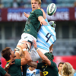 DURBAN, SOUTH AFRICA - AUGUST 18: Pieter-Steph du Toit of South Africa out jumps Guido Petti of Argentina during the Rugby Championship match between South Africa and Argentina at Jonsson Kings Park on August 18, 2018 in Durban, South Africa. (Photo by Steve Haag/Gallo Images)