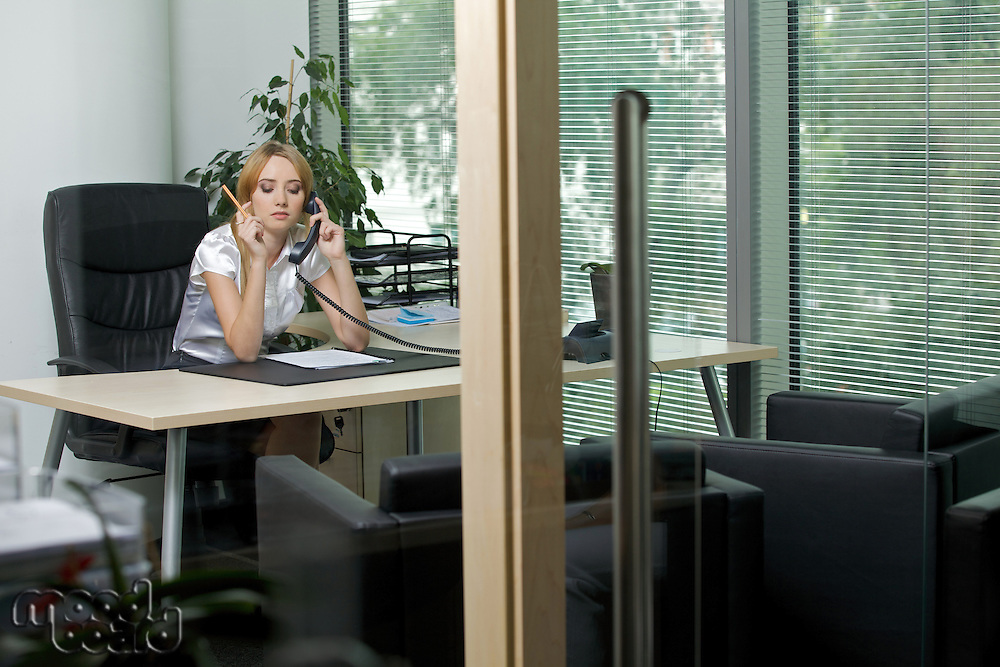Businesswoman using phone at office