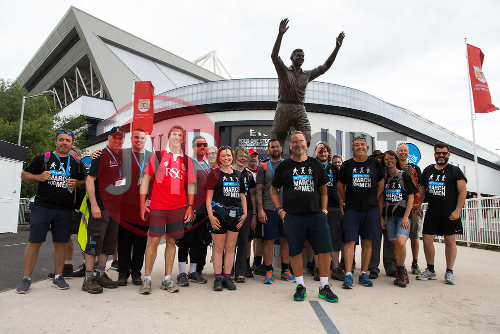 Jeff Stelling and his March for Men visit Ashton Gate Stadium home of Bristol City FC. Jeff is stopping at 40 football grounds whilst walking 400 miles in 15 days to St James' Park Newcastle to raise money for Prostate Cancer UK - Rogan Thomson/JMP - 03/06/2017 - Ashton Gate Stadium - Bristol, England.