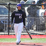 Pavel Chavez-Rusova #15 of the Niagara Purple Eagles steps up to the plate during the game at Friedman Diamond on March 16, 2014 in Brookline, Massachusetts. (Photo by Elan Kawesch)