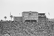 COLLEGE FOOTBALL:  The scoreboard at the 1972 Rose Bowl shows the score with 1:20 to play.  Following a field goal by kicker Rod Garcia Stanford defeated Michigan by a final score of 13-12 in the game played on January 1, 1972 at the Rose Bowl in Pasadena, California. BW R0148-22.