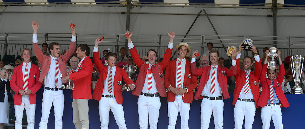 Henley on Thames. United Kingdom. Winners of The Temple Challenge Cup, Delftsche Studenten Roeivereeniging Laga, Holland  2013 Henley Royal Regatta, Henley Reach. 16:54:38  Sunday  07/07/2013  Mandatory Credit; Peter Spurrier/Intersport Images]