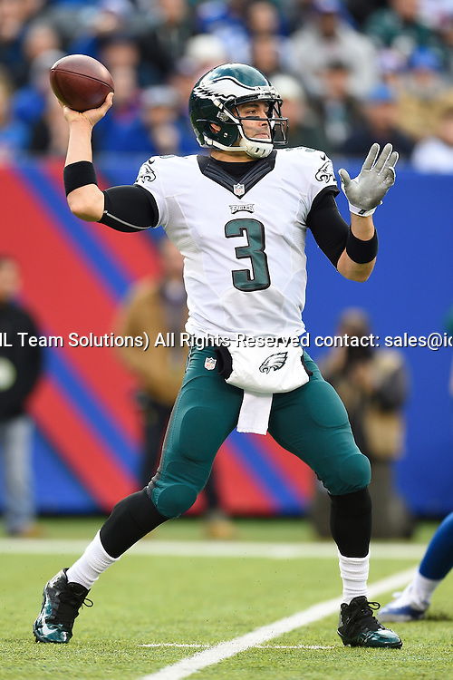 December 28, 2014: Philadelphia Eagles quarterback Mark Sanchez (3) drops back to pass during the first half of a NFL Eastern matchup between the Philadelphia Eagles and the New York Giants at MetLife Stadium in East Rutherford, New Jersey.