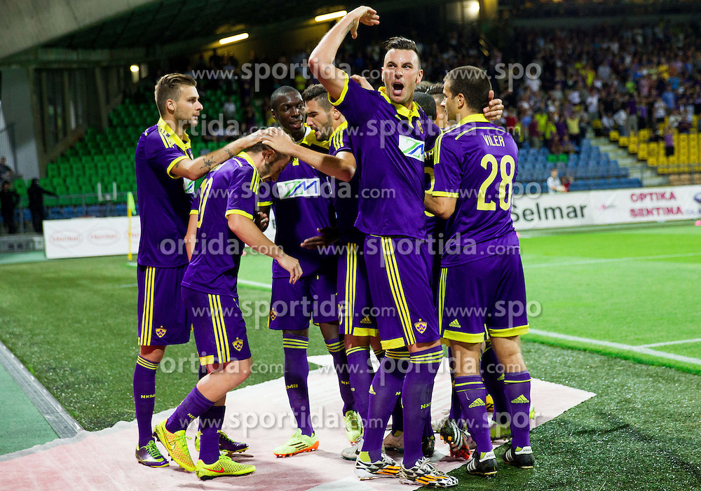 Soares Bordignon Arghus #44 of Maribor and other players of Maribor celebrate after Ibraimi scored second goal for Maribor during 2nd Leg football match between NK Maribor and HSK Zrinjski Mostar in Second Qualifying Round of UEFA Champions League 2014/15, on July 23, 2014 in Stadium Ljudski vrt, Maribor, Slovenia. Photo by Vid Ponikvar / Sportida.com