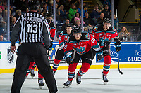 KELOWNA, CANADA - OCTOBER 27: Leif Mattson #28 of the Kelowna Rockets skates to the bench to celebrate a goal against the Tri-City Americans on October 27, 2017 at Prospera Place in Kelowna, British Columbia, Canada.  (Photo by Marissa Baecker/Shoot the Breeze)  *** Local Caption ***