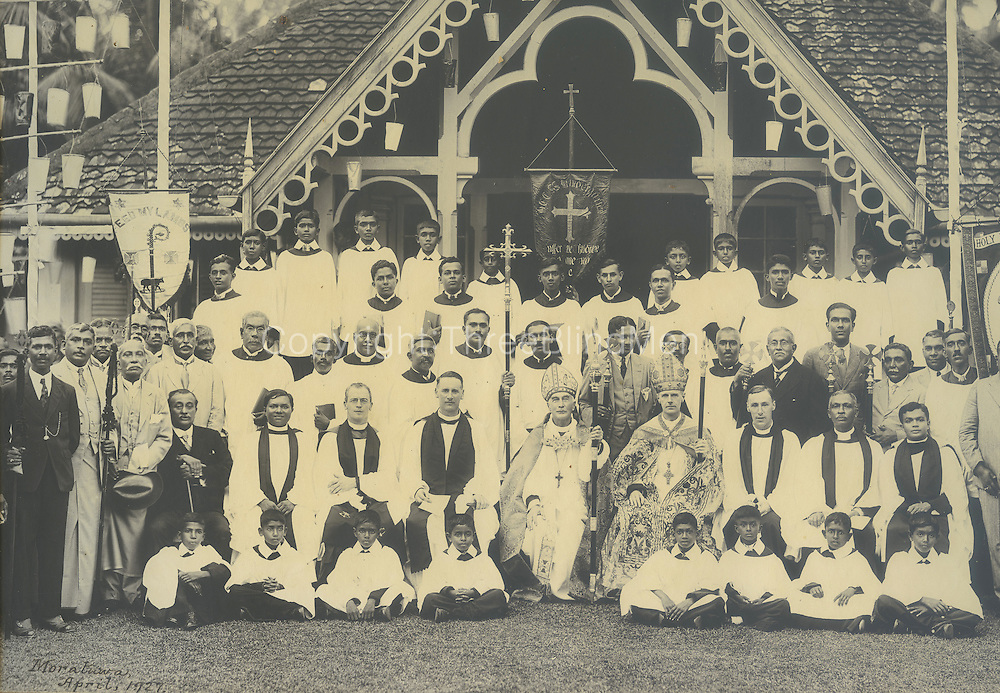 SThe Bishop seated on the right wearing mitre and with ornate cope is Bishop of Colombo, Mark Rodolph Carpenter-Garnier. Possibly taken at Mathew Hall, Polwatta, Colpetty.<br /> From the Chloe de Soysa collection.
