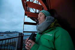 NORWAY ANDENES 8DEC15 - Greenpeace campaigners Larissa Baeumer of Germany during whale spotting from the lighthouse on the coast at Andenes, Norway.<br /> <br /> jre/Photo by Jiri Rezac / Greenpeace<br /> <br /> © Jiri Rezac 2015