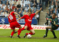 WEST BROMWICH, ENGLAND - Saturday, April 26, 2003: Liverpool's Milan Baros and Michael Owen line-up to score the third goal against West Bromwich Albion during the Premiership match at the Hawthorns. (Pic by David Rawcliffe/Propaganda)