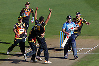LOU VINCENT OF THE AUCKLAND ACES IS DISMISSED BY MALAESAILI TUGAGA OF THE WELLINGTON FIREBIRDS, WELLINGTON