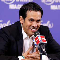 Jun 18, 2013; Miami, FL, USA; Miami Heat head coach Erik Spoelstra addresses the media after game six in the 2013 NBA Finals against the San Antonio Spurs at American Airlines Arena. The Heat won 103-100 in overtime. Mandatory Credit: Derick E. Hingle-USA TODAY Sports