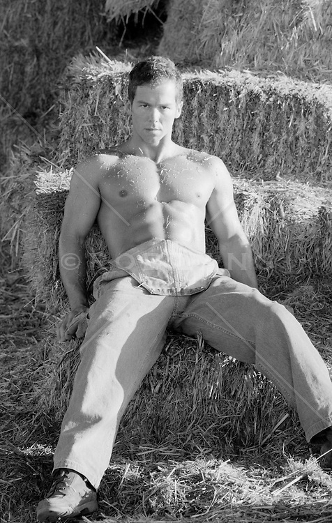 muscular shirtless man in a barn filled with hay