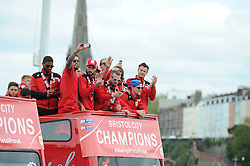 Bristol City players at the front of the Bristol City Celebration tour bus as it arrives at the Lloyds Amphitheater - Photo mandatory by-line: Dougie Allward/JMP - Mobile: 07966 386802 - 04/05/2015 - SPORT - Football - Bristol -  - Bristol City Celebration Tour