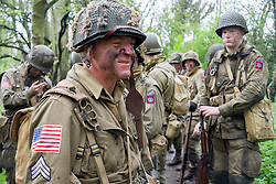 Members of the US 82nd Airborne/505th RCT living History Group in the woods close to Fort Paull <br /> <br />   03 May 2015<br />   Image © Paul David Drabble <br />   www.pauldaviddrabble.co.uk