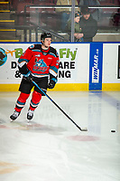 KELOWNA, BC - DECEMBER 18: Jake Lee #21 of the Kelowna Rockets warms up on the ice with the puck against the Vancouver Giants  at Prospera Place on December 18, 2019 in Kelowna, Canada. (Photo by Marissa Baecker/Shoot the Breeze)